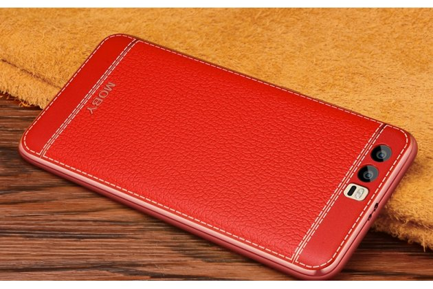 Фирменная премиальная элитная крышка-накладка из качественного силикона с дизайном под кожу для Huawei Honor 9 красная
