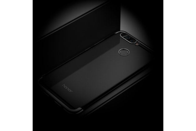 Фирменная ультра-тонкая полимерная из мягкого качественного силикона задняя панель-чехол-накладка для Huawei Honor 9 прозрачная с черной окантовкой