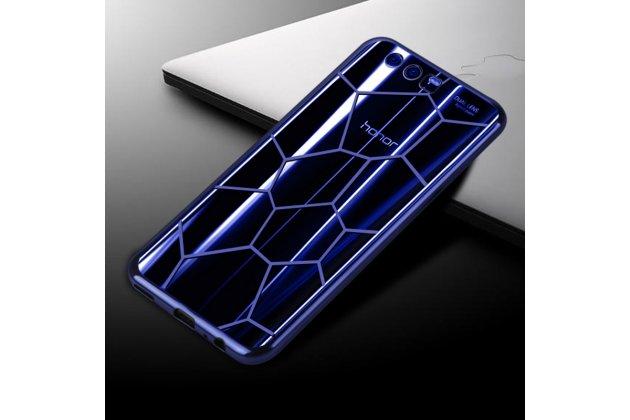 Фирменная ультра-тонкая полимерная из мягкого качественного силикона задняя панель-чехол-накладка для Huawei Honor 9 синяя паутина