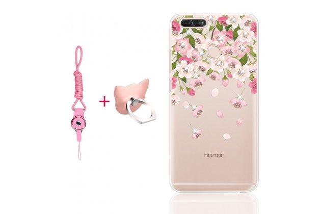 """Фирменная ультра-тонкая полимерная из мягкого качественного силикона задняя панель-чехол-накладка для Huawei Honor 9 """"Тематика весенние цветы"""" полупрозрачный"""