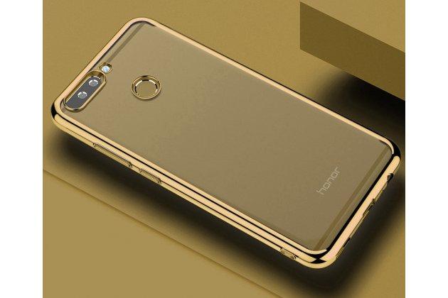 Фирменная ультра-тонкая полимерная из мягкого качественного силикона задняя панель-чехол-накладка для Huawei Honor 9 золото