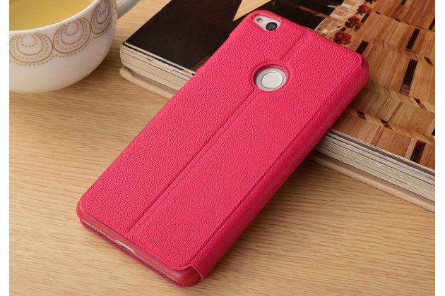 Фирменный чехол-книжка для Huawei Honor 9 красный с окошком для входящих вызовов и свайпом водоотталкивающий