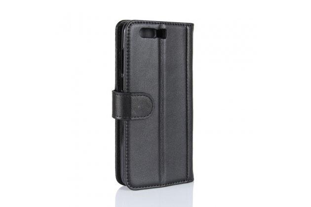 Фирменный чехол-книжка из качественной импортной кожи с мульти-подставкой застёжкой и визитницей для Huawei Honor 9 черный