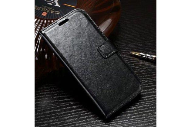 Фирменный чехол-книжка из качественной импортной кожи с подставкой застёжкой и визитницей для Хуавей Хонор 9 черный