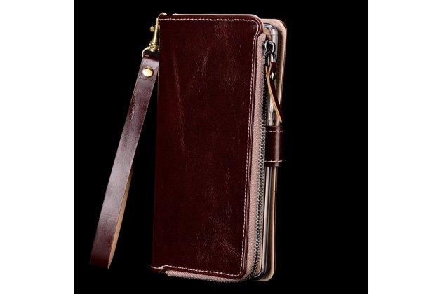 Фирменный чехол-портмоне-клатч-кошелек на силиконовой основе из качественной импортной кожи для Huawei Honor 9