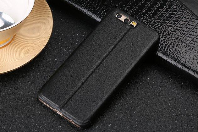 Фирменный оригинальный чехол-книжка из качественной импортной кожи с окном для входящих вызовов  для Huawei Honor 9 черный
