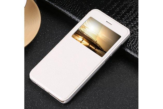 Фирменный оригинальный чехол-книжка из качественной импортной кожи с окном для входящих вызовов  для Huawei Honor 9 Королевский белый