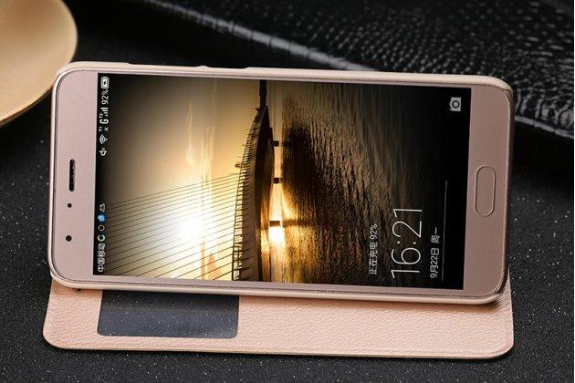 Фирменный оригинальный чехол-книжка из качественной импортной кожи с окном для входящих вызовов  для Huawei Honor 9 Королевский золотой