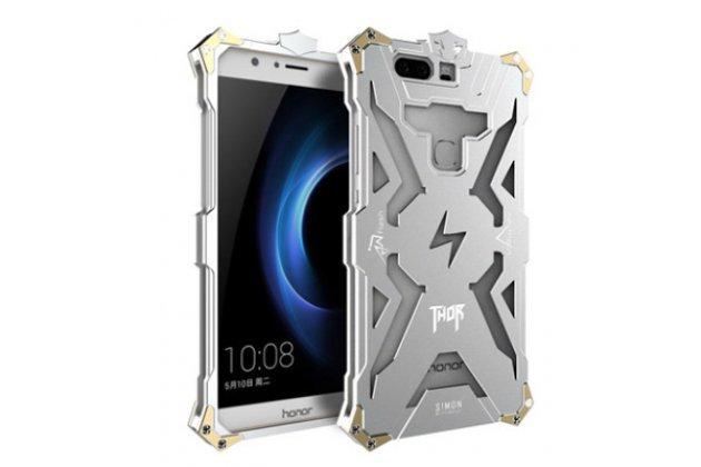 Противоударный металлический чехол-бампер из цельного куска металла с усиленной защитой углов и необычным экстремальным дизайном для Huawei Honor 9 серебро