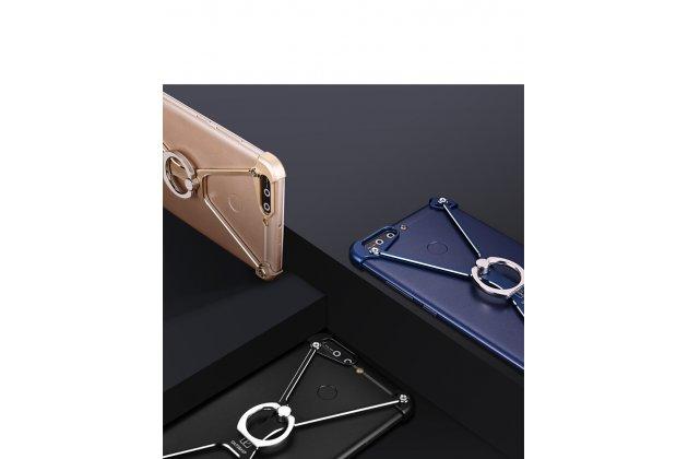 Противоударный металлический чехол-бампер из цельного куска металла с усиленной защитой углов и необычным экстремальным дизайном  для  Huawei Honor 9 синего цвета