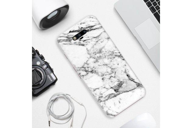 Фирменная из тончайшего прочного пластика задняя панель-крышка-накладка с рисунком под мрамор для Huawei Honor Magic цвет белый