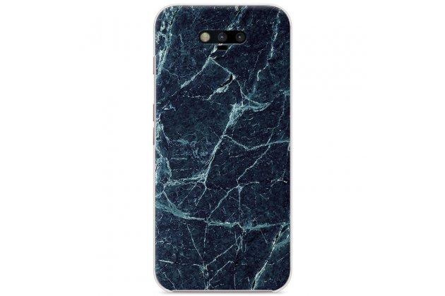 Фирменная из тончайшего прочного пластика задняя панель-крышка-накладка с рисунком под мрамор для Huawei Honor Magic цвет малахит