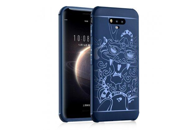 Фирменная роскошная силиконовая задняя панель-чехол-накладка с безумно красивым расписным рисунком на Huawei Honor Magic тематика Китайский Дракон синяя