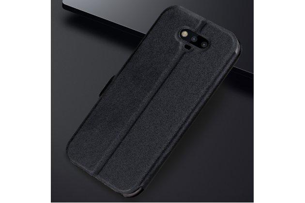 Фирменный чехол-книжка для Huawei Honor Magic черный с окошком для входящих вызовов и свайпом водоотталкивающий