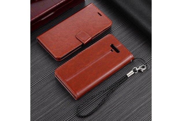 Фирменный чехол-книжка из качественной импортной кожи с подставкой застёжкой и визитницей для Хуавей Хонор Мэджик коричневый