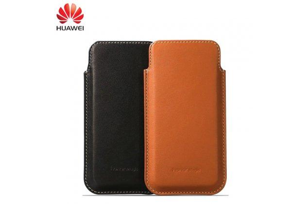 """Премиальный чехол-сумка-карман с логотипом для Huawei Honor Magic из натуральной кожи коричневый """"Ретро"""""""