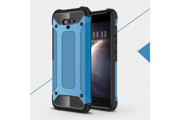 Противоударный усиленный ударопрочный фирменный чехол-бампер-пенал для Huawei Honor Magic синий