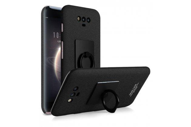 Задняя панель-крышка из прочного пластика с матовым противоскользящим покрытием для Huawei Honor Magic с подставкой в черном цвете