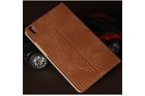 """Фирменный чехол-книжка из качественной импортной кожи с мульти-подставкой и визитницей с золотым узором для Huawei Honor Pad 2 (JDN-W09/AL00)"""" коричневый"""
