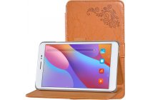 """Фирменный чехол закрытого типа с красивым узором для планшета Huawei Honor Pad 2 (JDN-W09/AL00)"""" с держателем для руки оранжевый натуральная кожа """"Prestige"""" Италия"""