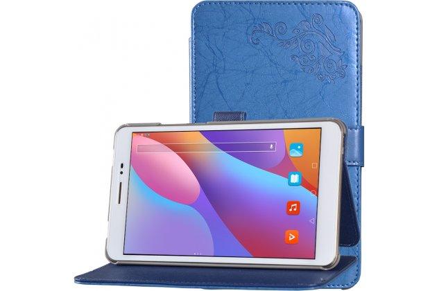 """Фирменный чехол закрытого типа с красивым узором для планшета Huawei Honor Pad 2 (JDN-W09/AL00)"""" с держателем для руки синий натуральная кожа """"Prestige"""" Италия"""