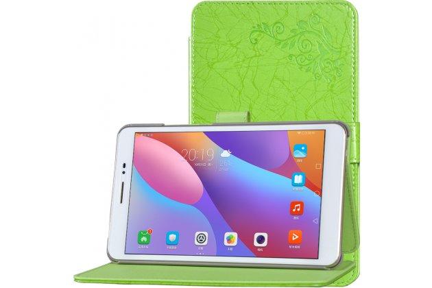 """Фирменный чехол закрытого типа с красивым узором для планшета Huawei Honor Pad 2 (JDN-W09/AL00)"""" с держателем для руки зеленый натуральная кожа """"Prestige"""" Италия"""