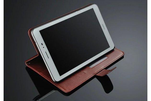 """Фирменный премиальный чехол бизнес класса для  с визитницей из качественной импортной кожи Huawei Honor Pad 2 (JDN-W09/AL00)"""" / Huawei MediaPad T2 8 Pro коричневый"""