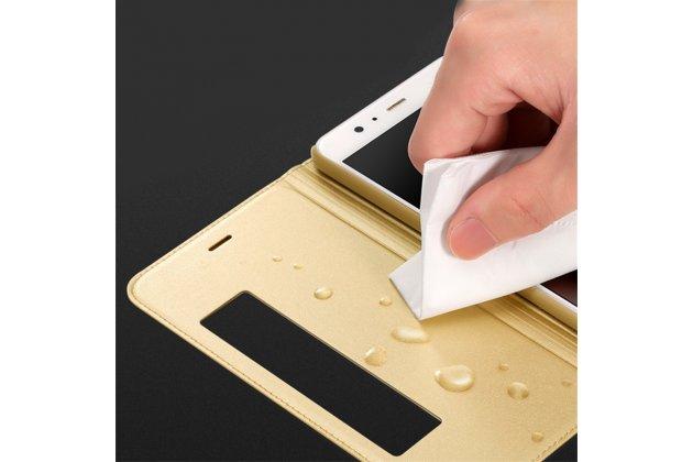 Фирменный оригинальный чехол-книжка для Huawei Mate 10 Pro золотой с окошком для входящих вызовов водоотталкивающий