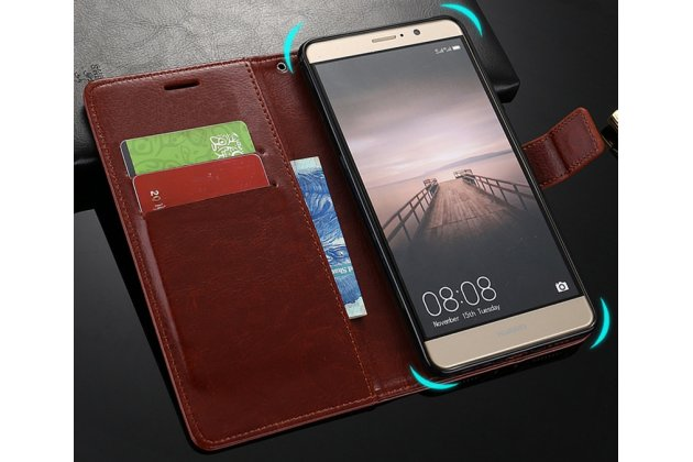 Фирменный чехол-книжка из качественной импортной кожи с подставкой, застёжкой и визитницей для Huawei Mate 10 Pro коричневый