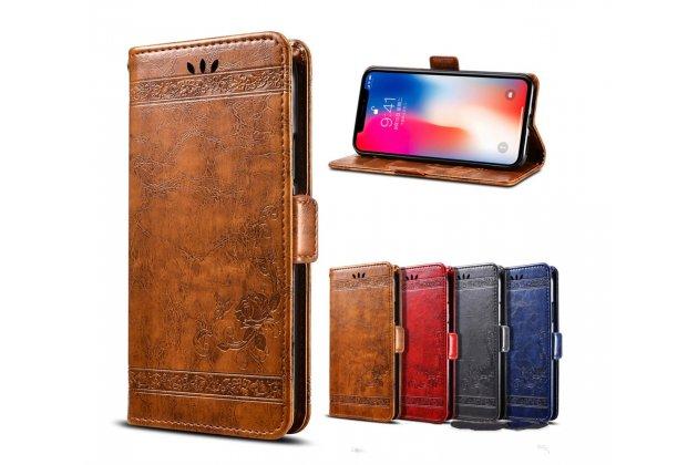 Фирменный чехол-книжка из качественной импортной кожи с визитницей и мультиподставкой для Huawei Mate 10 Pro красный с элегантной прошивкой и рисунком