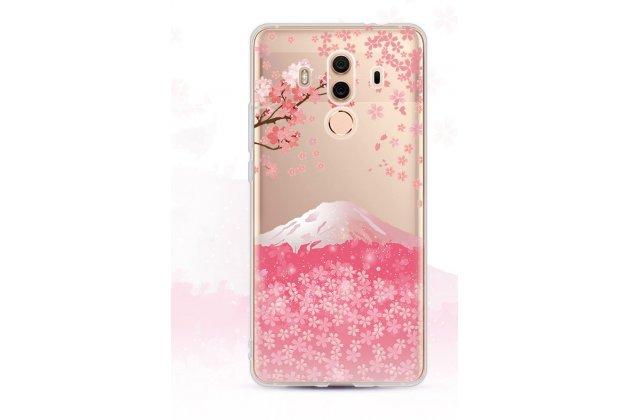 """Фирменная ультра-тонкая полимерная из мягкого качественного силикона задняя панель-чехол-накладка для Huawei Mate 10 Pro с изображением """"Сакура"""""""