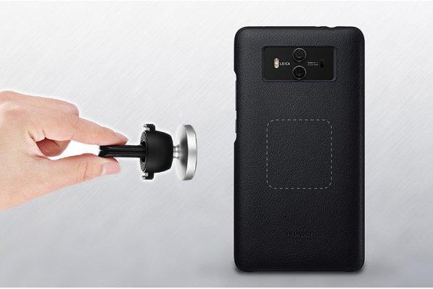 Фирменная оригинальная подлинная крышка-накладка с логотипом из тончайшего прочного пластика и качественной импортной кожи  для Huawei Mate 10 Pro коричневая в комплекте с автомобильным держателем