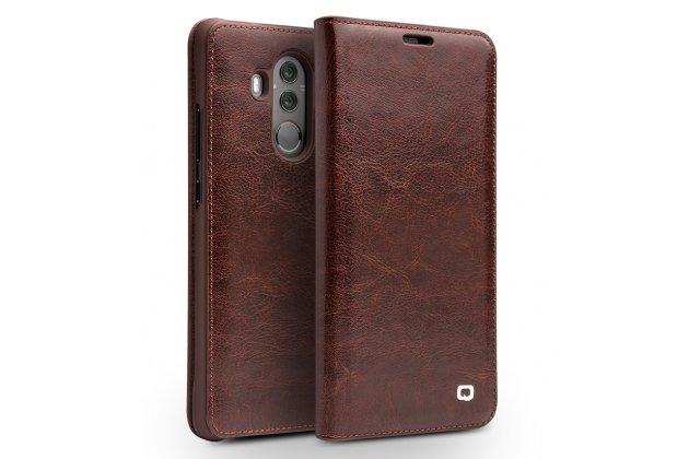 Фирменный премиальный элитный чехол-книжка из качественной импортной кожи с мульти-подставкой и визитницей для Huawei Mate 10 Pro коричневый