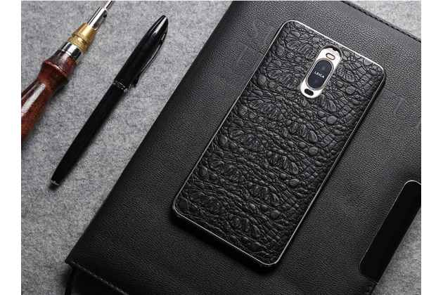 Фирменная роскошная задняя панель-крышка обтянутая импортной кожей с фактурной поверхностью для Huawei Mate 10 Pro черная