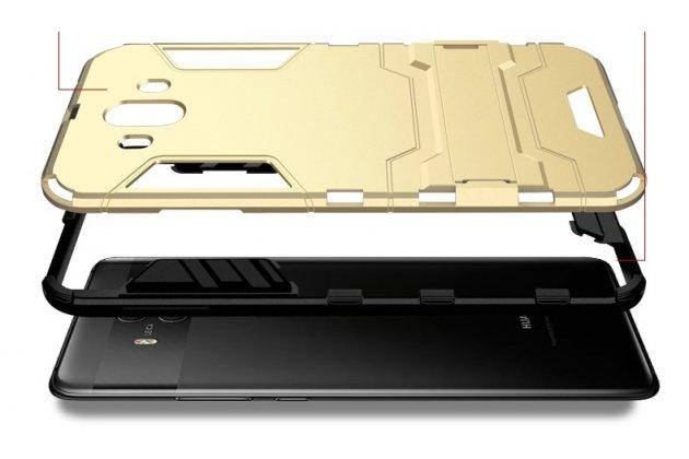 Противоударный усиленный ударопрочный фирменный чехол-бампер-пенал для Huawei Mate 10 Pro черный