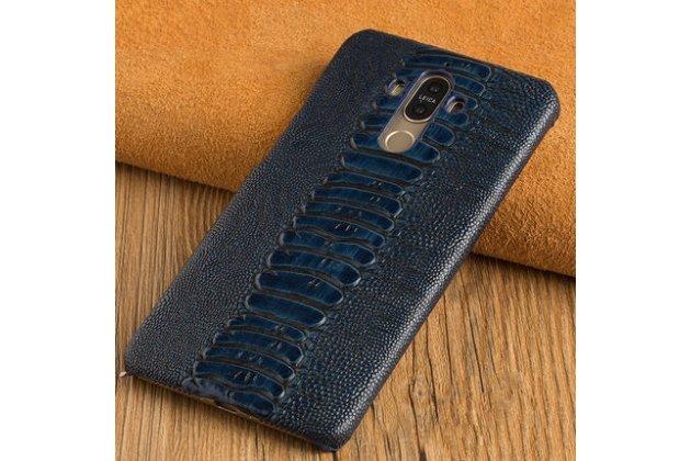 Фирменная элегантная экзотическая задняя панель-крышка с фактурной отделкой натуральной кожи крокодила темно-синего цвета для Huawei Mate 10 Pro. Только в нашем магазине. Количество ограничено.
