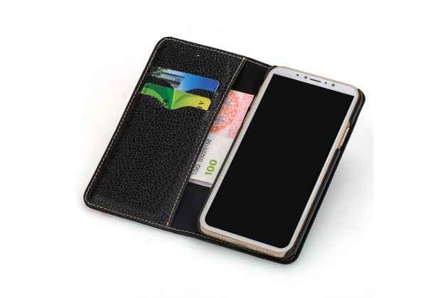 Фирменный чехол-книжка из качественной импортной кожи с визитницей и мультиподставкой для Huawei Mate 10 Pro коричневый