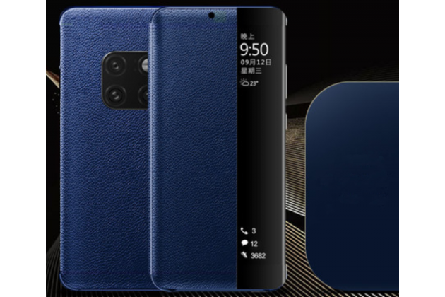 Фирменный оригинальный подлинный чехол с боковым окном для Huawei Mate 20 6.53 в синем цвете