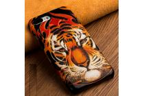 Фирменная роскошная задняя панель-крышка обтянутая импортной кожей для Huawei Mate 8 (NXT-AL1) 6.0 тематика Тигр