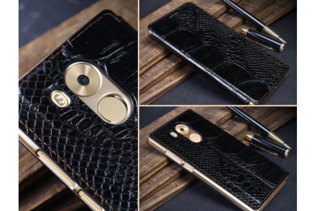 Фирменный роскошный эксклюзивный чехол с фактурной прошивкой рельефа кожи крокодила с окошком для входящих вызовов черный для Huawei Mate 8 (NXT-AL1) 6.0. Только в нашем магазине.