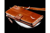 Фирменный чехол-портмоне-клатч-кошелек на силиконовой основе из качественной импортной кожи для Huawei Mate 8 (NXT-AL1) 6.0 коричневый