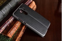 Фирменный оригинальный чехол-книжка из качественной импортной кожи с окном для входящих вызовов  для Huawei Mate 9 черный