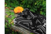 Противоударный металлический чехол-бампер из цельного куска металла с усиленной защитой углов и необычным экстремальным дизайном  для  Huawei Mate 9 черного цвета