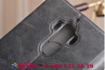 Фирменный чехол-книжка водоотталкивающий с мульти-подставкой на жёсткой металлической основе для Huawei Mate 9 черный