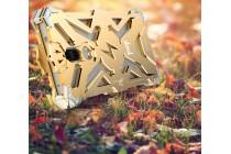 Противоударный металлический чехол-бампер из цельного куска металла с усиленной защитой углов и необычным экстремальным дизайном  для  Huawei Mate 9 золотого цвета