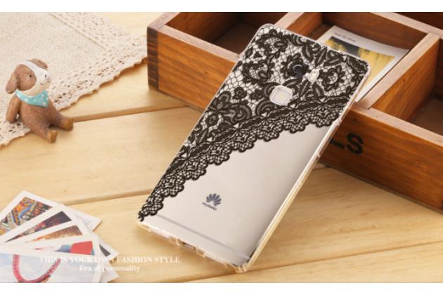 Фирменная уникальная задняя панель-крышка-накладка из тончайшего силикона для Huawei Mate S 5.5 с объёмным 3D рисунком тематика Черное Кружево