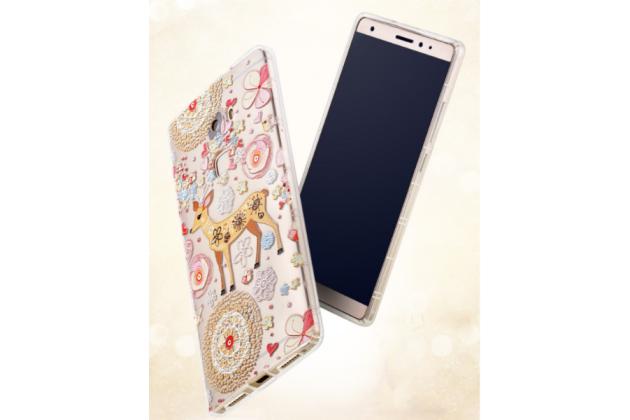 Фирменная уникальная задняя панель-крышка-накладка из тончайшего силикона для Huawei Mate S 5.5 с объёмным 3D рисунком тематика Олень