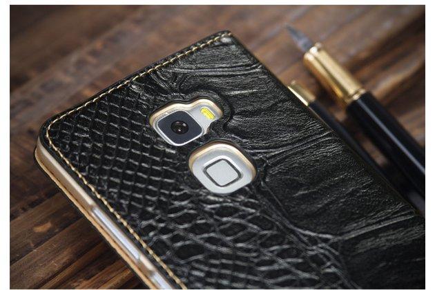 Фирменный роскошный эксклюзивный чехол с фактурной прошивкой рельефа кожи крокодила с окошком для входящих вызовов черный для Huawei Mate S 5.5 (CRR-UL00). Только в нашем магазине.