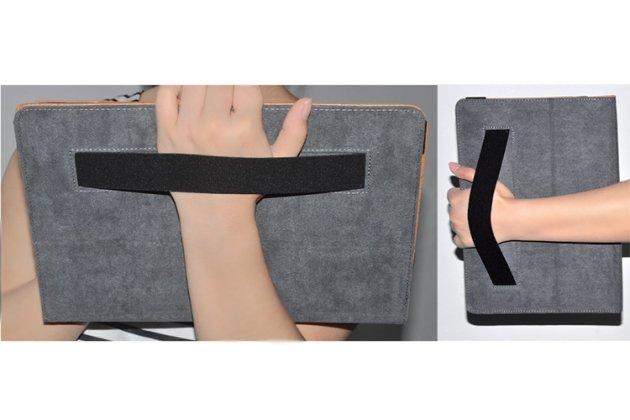 Фирменный чехол закрытого типа с красивым узором для планшета Huawei MateBook (HZ-W09/W19) с держателем для руки синий натуральная кожа Prestige Италия