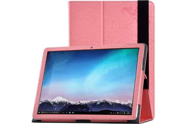 Фирменный чехол закрытого типа с красивым узором для планшета Huawei MateBook (HZ-W09/W19) с держателем для руки розовый натуральная кожа Prestige Италия